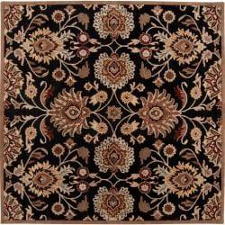 Hand-tufted Maroon Kiser Wool Rug (6' Square)