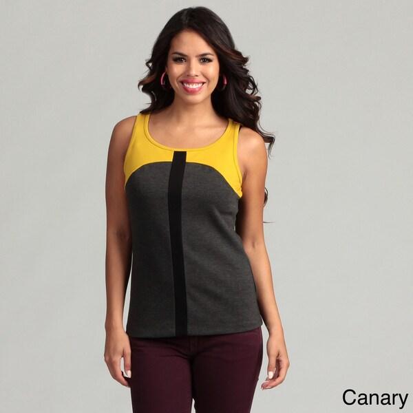 Cupio Women's Sleeveless Scoop Neck Colorblock Top