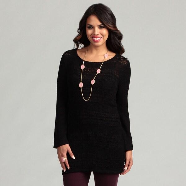 Cupio Women's Black Striped Long Sleeve Sweater