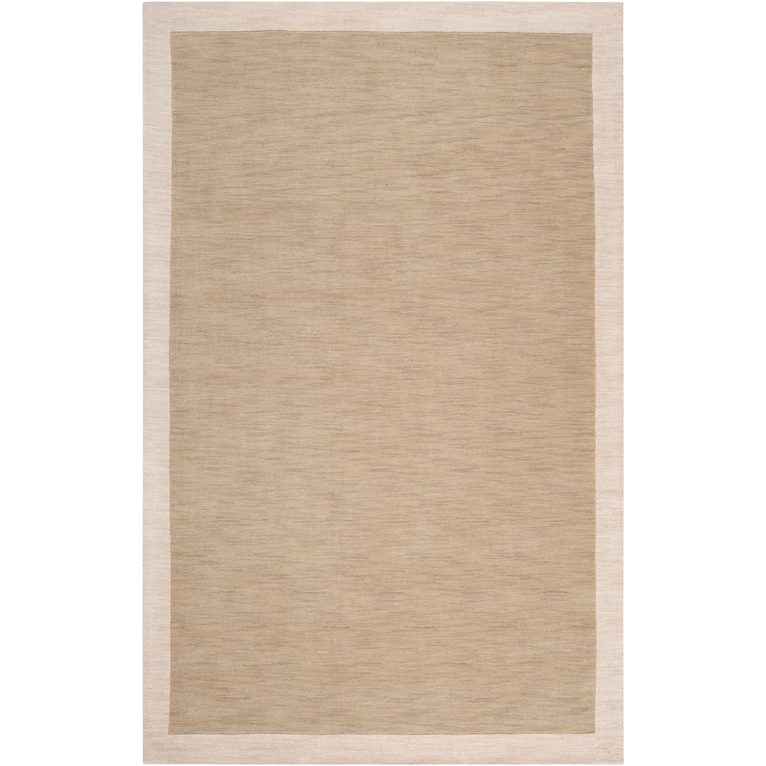 "Loomed Tan Madison Square Wool Area Rug - 5' x 7'6"""