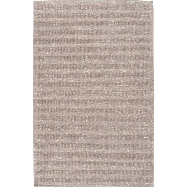 Hand-crafted Solid Grey Baham Wool Area Rug - 5' x 8'