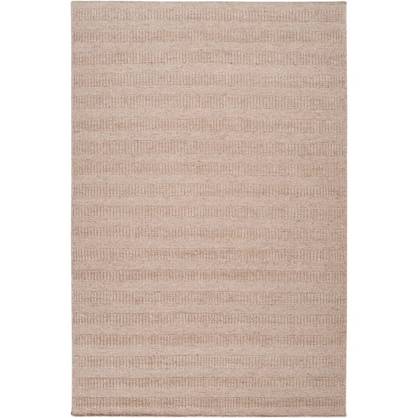 Hand-crafted Solid Beige Baham Wool Area Rug - 8' x 10'