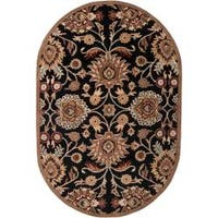 Hand-tufted Maroon Kiser Wool Area Rug (8' x 10' Oval)