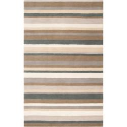 """Loomed Green Madison Square Wool Rug (5' x 7'6"""")"""