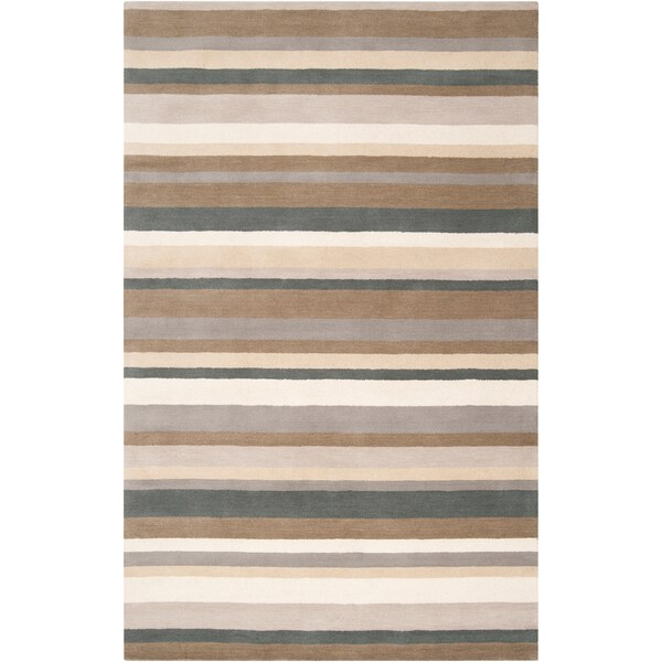 Loomed Green Madison Square Wool Area Rug - 5' x 7'6""