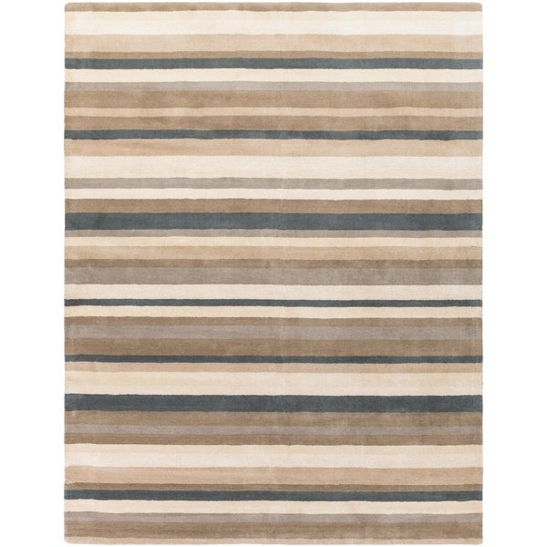 Loomed Green Madison Square Wool Area Rug - 8' x 10'