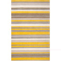 Loomed Yellow Madison Square Wool Rug (2' x 3')