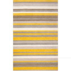 Loomed Yellow Madison Square Wool Rug (3'3 x 5'3)