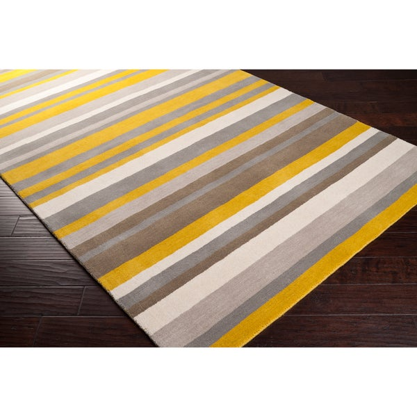 Loomed Yellow Madison Square Wool Area Rug - 5' x 7'6""