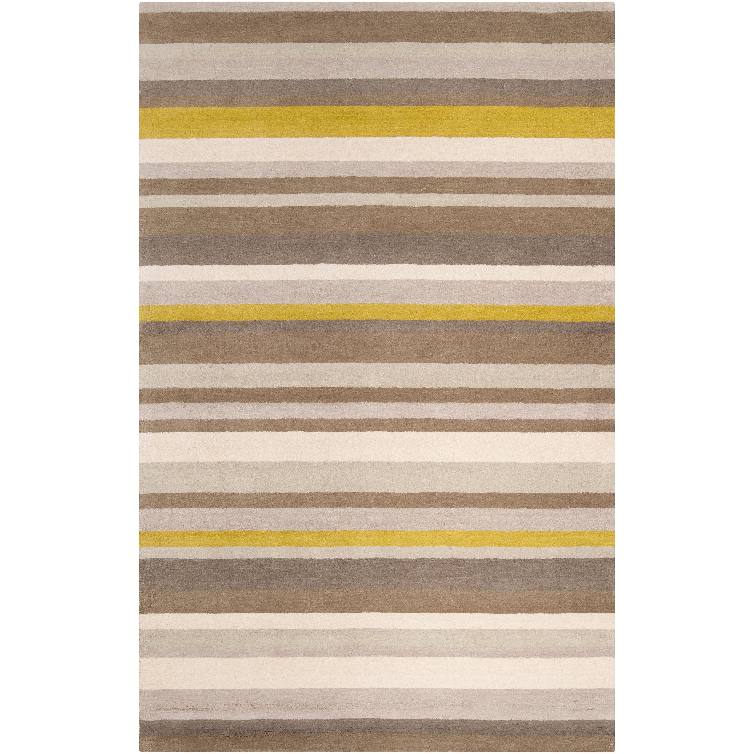 Loomed Olive/Oatmeal/Mustard Striped Madison Square Wool Rug (5' x 7'6)