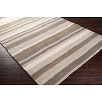 """Loomed Grey/Oatmeal Madison Square Wool Area Rug - 2'6"""" x 8'"""