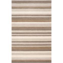 Loomed Grey Madison Square Wool Rug (5' x 7'6)