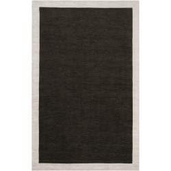 Loomed Black Madison Square Wool Rug (5'7 x 6')