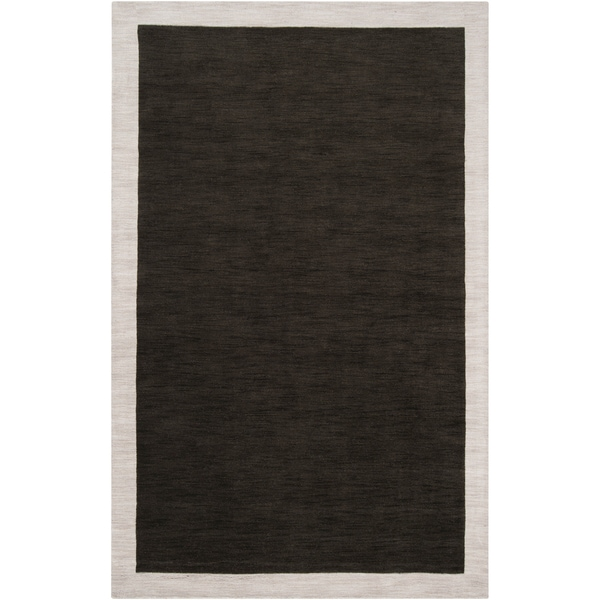"Loomed Black Madison Square Wool Area Rug - 5'7"" x 6'"