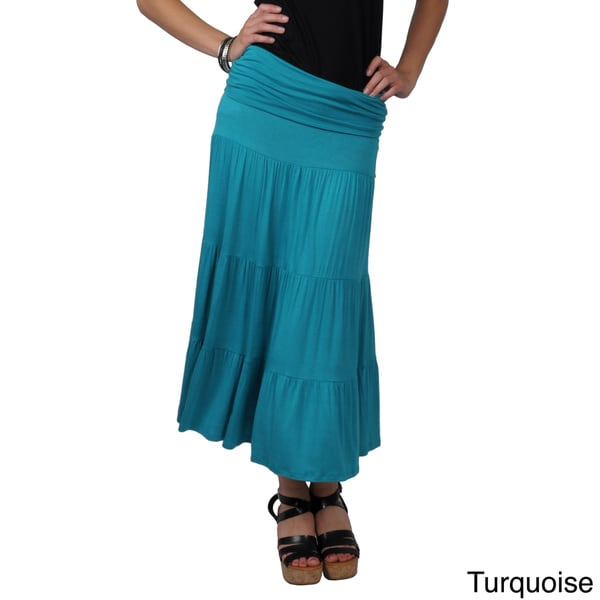 Solid-Colored Journee Collection Juniors Long Tiered Skirt-Dress