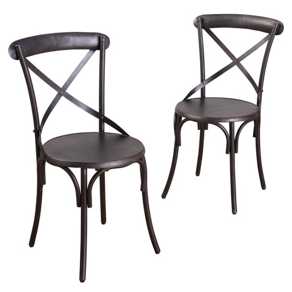 Metal Bistro Chairs Zinc Finish (Set of 2)