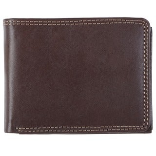 Stylish Boston Traveler Men's Topstitched Bi-fold Genuine Leather Wallet