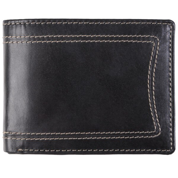 Boston Traveler Men's Topstitched Bi-fold Genuine Leather Wallet. Opens flyout.