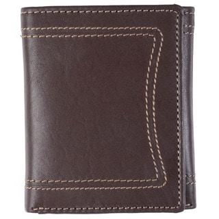 Boston Traveler Men's Topstitched Tri-fold Genuine Leather Wallet