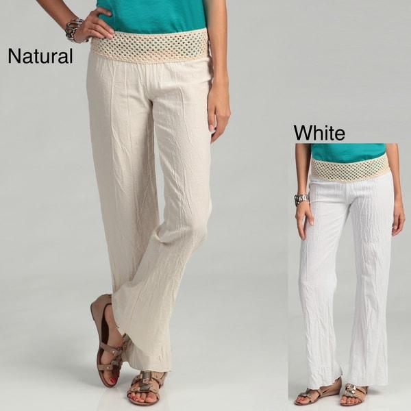 Elan Women's Gauze Pants with Elastic Crochet Waistband