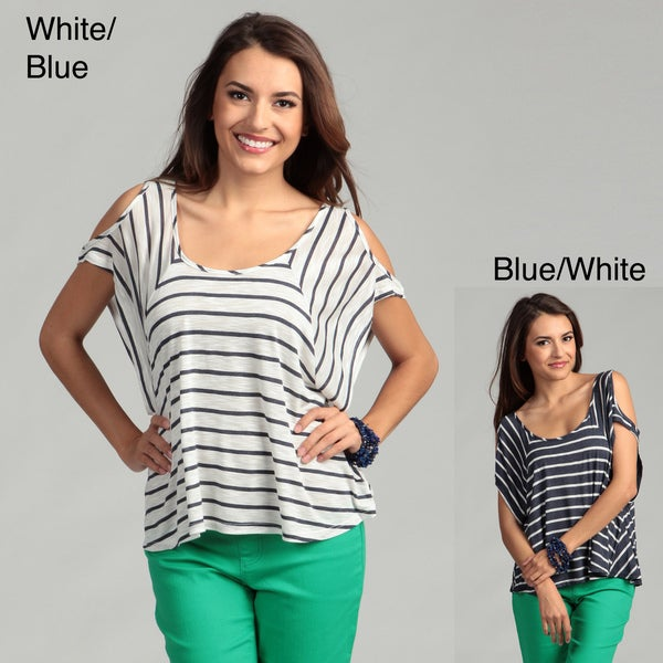Elan Women's Striped Cut-out Cap Sleeve Top