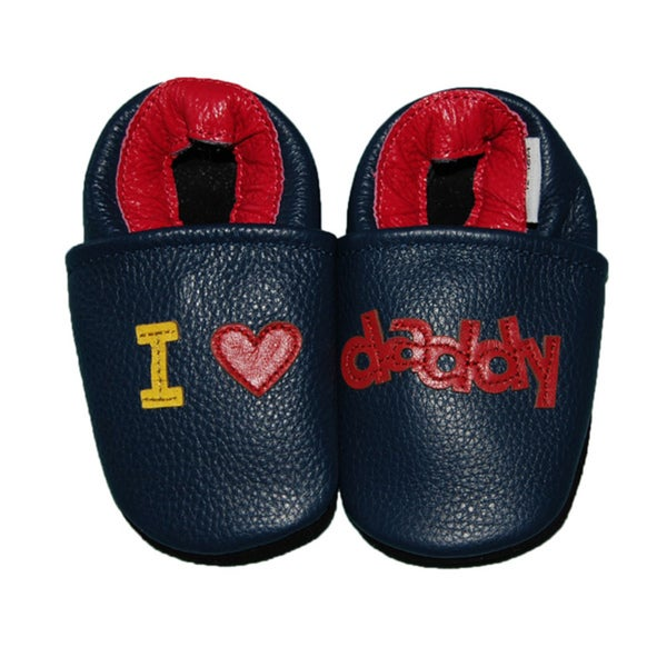 I Love Daddy Soft Sole Leather Baby Shoes