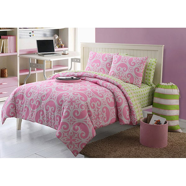 VCNY Kendall 11-piece Pink/ Green Dorm Room in a Bag with Sheet Set - Pink