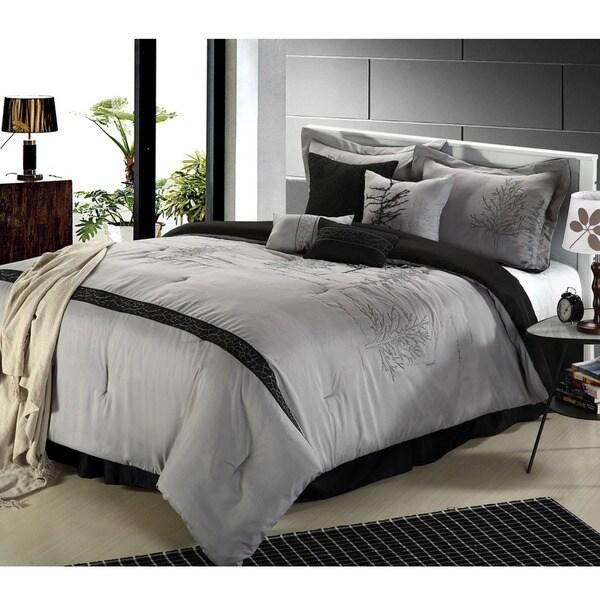 Embroidered Vines 8-piece Black Comforter Set