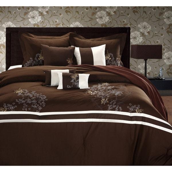 Park Avenue Brown/ivory 8-piece Comforter Set