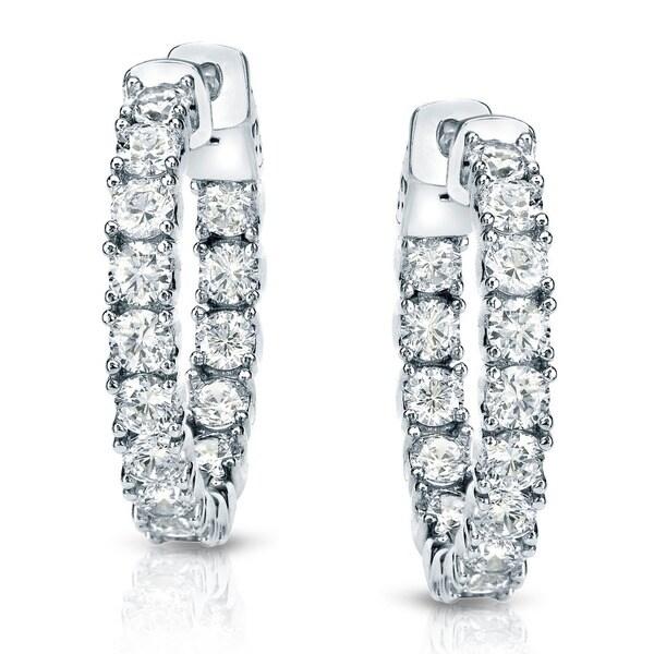 Auriya 14k Gold 1ct TDW Inside-Out Diamond Hoop Earrings