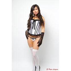 Popsi Lingerie Black and White Corset With Panty