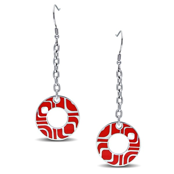 Miadora Stainless Steel Red Epoxy Dangle Earrings