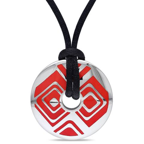 Miadora Stainless Steel and Red Epoxy Fashion Pendant (20-inch)
