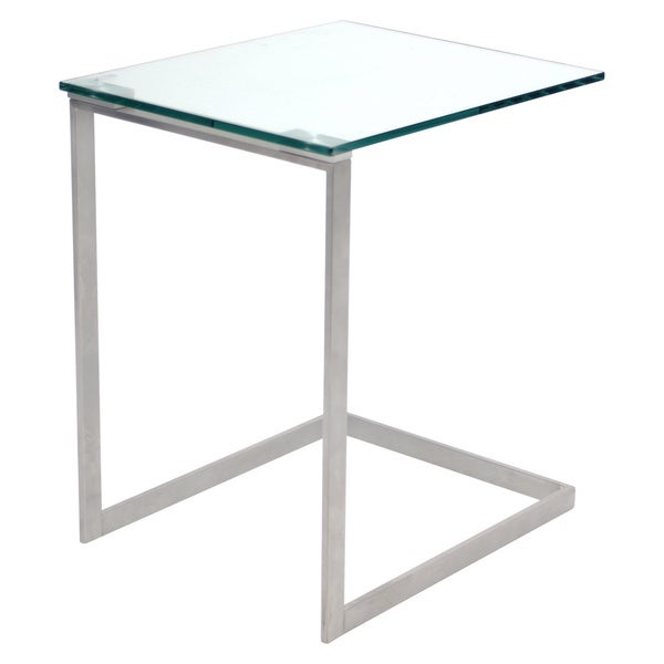 LumiSource Zenn Stainless Steel/ Glass End Table   Free Shipping Today    Overstock.com   14258610