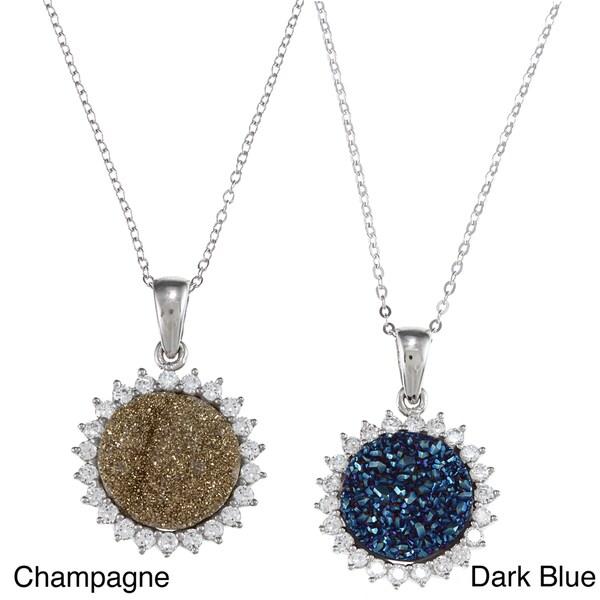La Preciosa Sterling Silver Druzy and Cubic Zirconia Necklace