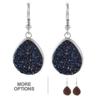 La Preciosa Sterling Silver Pear-cut Druzy Earrings