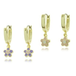 Molly and Emma 18k Gold Overlay Children's Colored Enamel Flower Hoop Earrings