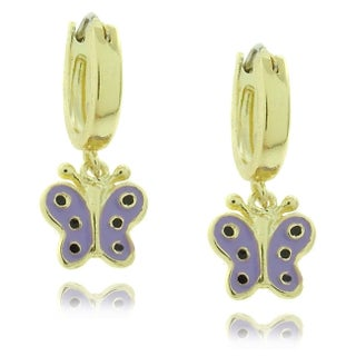 Molly and Emma 18k Gold Overlay Children's Dangling Enamel Butterfly Hoop Earrings (3 options available)