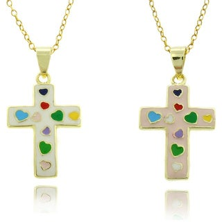 Molly and Emma 18k Gold Overlay Children's Multi-colored Heart Cross Necklace