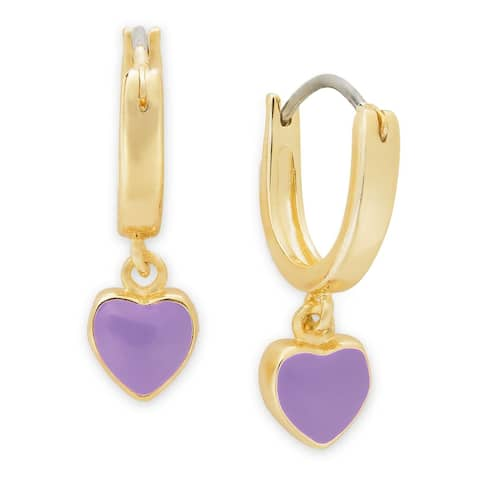 Molly and Emma Gold Overlay Children's Dangling Enamel Heart Hoop Earrings