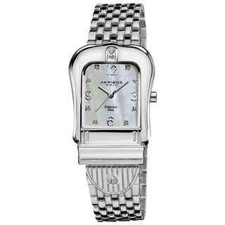 Akribos XXIV Women's Quartz Buckle Silver-Tone Bracelet Watch