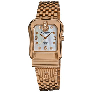 Akribos XXIV Women's Quartz Buckle Rose-Tone Bracelet Watch with FREE GIFT