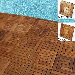 Le Click Style Spiral Teak Interlocking Deck Tiles (Set of 10)