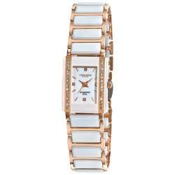 Akribos XXIV Women's Rectangular Rose-toned Ceramic Quartz Bracelet Watch