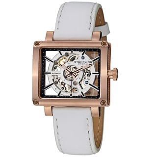 Stuhrling Original Women's Lady Axis Automatic White Leather Strap Watch