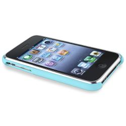 Baby Blue with Chrome Hole Rear Snap-on Case for Apple iPhone 3G/ 3GS
