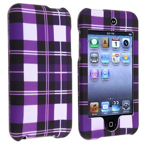 Purple Checker Rubber Coated Case for Apple iPod Touch Generation 2/ 3