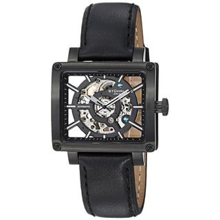 Stuhrling Original Women's Lady Axis Automatic Black Leather Strap Watch
