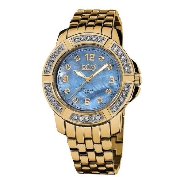 Burgi Women's Stainless Steel Diamond Gold-Tone Bracelet Gold-Tone Bracelet Watch