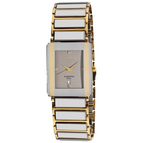 Akribos XXIV Men's Rectangular Ceramic Quartz Silver Gold-Tone Bracelet Watch